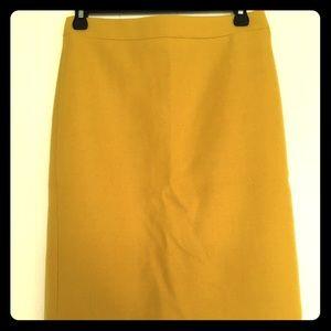 J Crew Yellow No. 2 Pencil Skirt